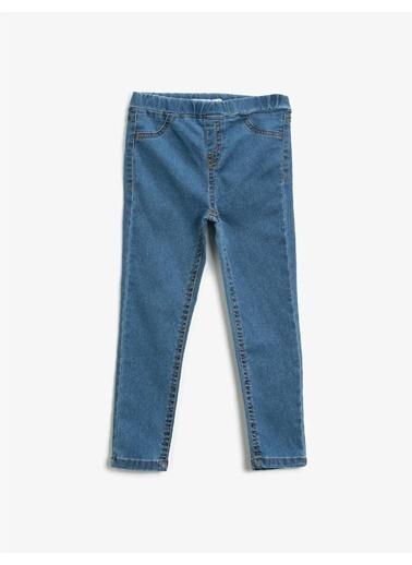 Koton Ultra Strech Jean Görünümlü Pamuklu Tayt Mavi